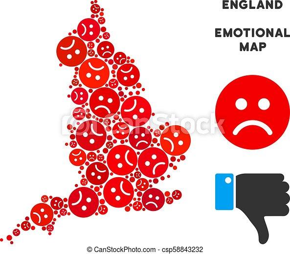 Map Of Uk Template.Vector Emotional England Map Mosaic Of Sad Emojis