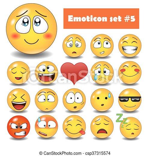 Cute Vector Emotional Face Icons Smiley Emoticons Set Vectors