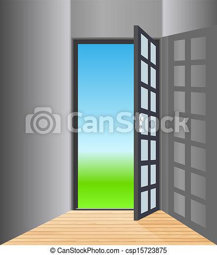 Vector Empty Room With Opened Door & Vector empty room with opened door vectors illustration - Search ...