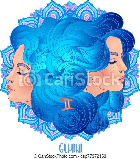 vector, encima, florido, horoscope., niña, géminis, señal, ilustración, dibujo, zodíaco, aislado, narración, futuro, mandala, astrológico, white., hermoso, pattern. - csp77372153