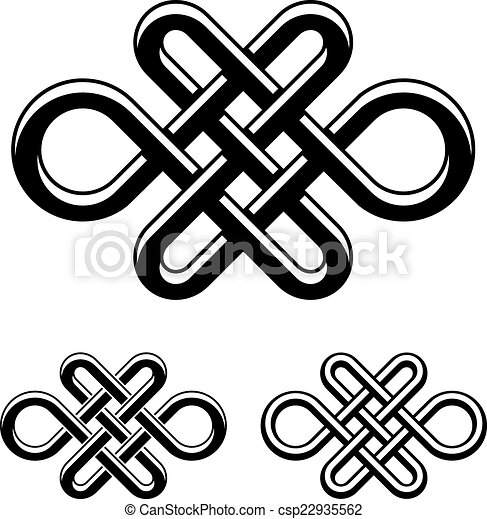 Vector Endless Celtic Knot Black White Symbol Clip Art Vector