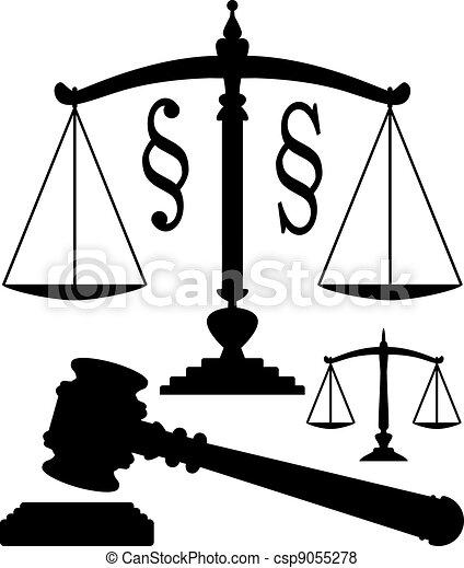 Escamas de vector de justicia, símbolos de martillo y párrafo - csp9055278