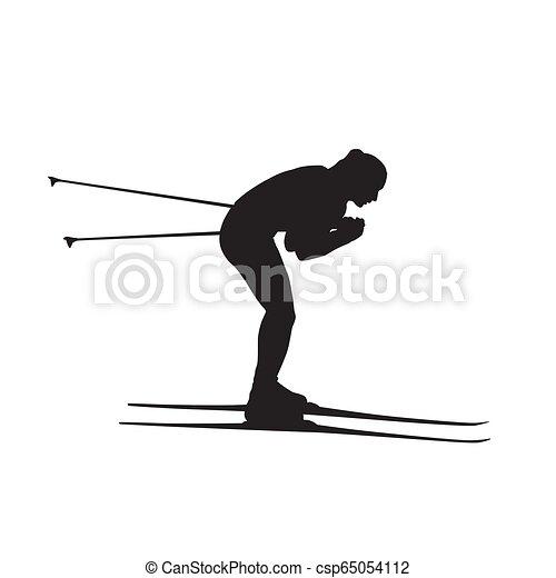 Esquiador de campo, esquía, silueta vectorial aislada - csp65054112