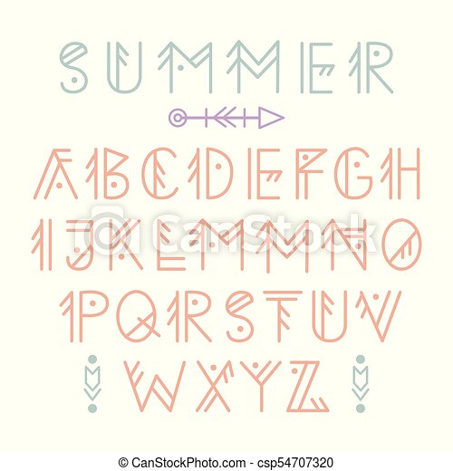 Vector Ethnic Aztec Font English Alphabet In Tribal Linear Style Decorative Letters Set For Typography Design