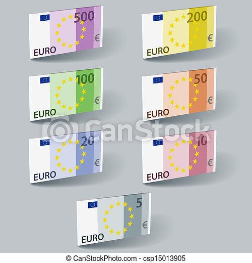 vector euro paper bill banknotes with shadows - csp15013905