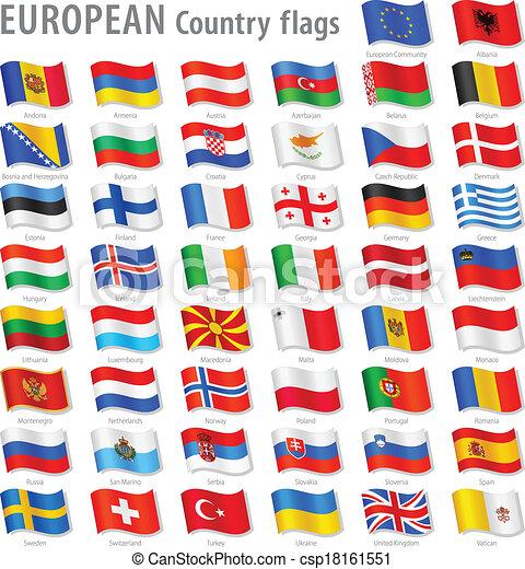 Vector Europe National Flag Set - csp18161551