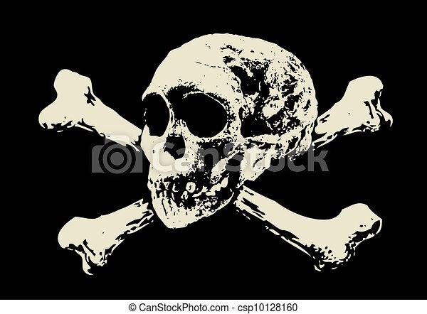 Vector. Evil skull with bones. Warning sign - csp10128160