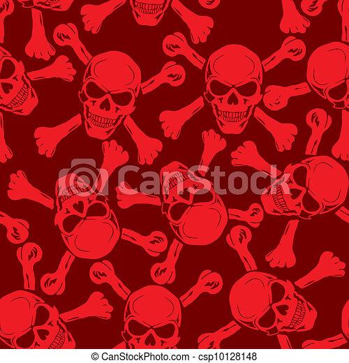 Vector. Evil skull with bones. Warning sign - csp10128148