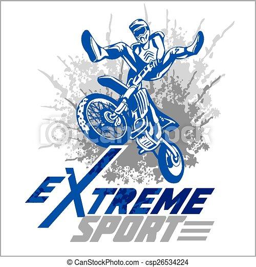 Vector eXtreme sport - moto emblem. - csp26534224