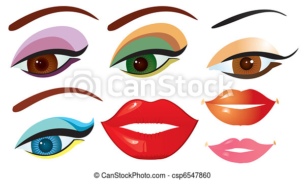 Vector eyes and lips for design on white - csp6547860