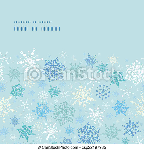 Vector falling snow horizontal frame seamless pattern background - csp22197935