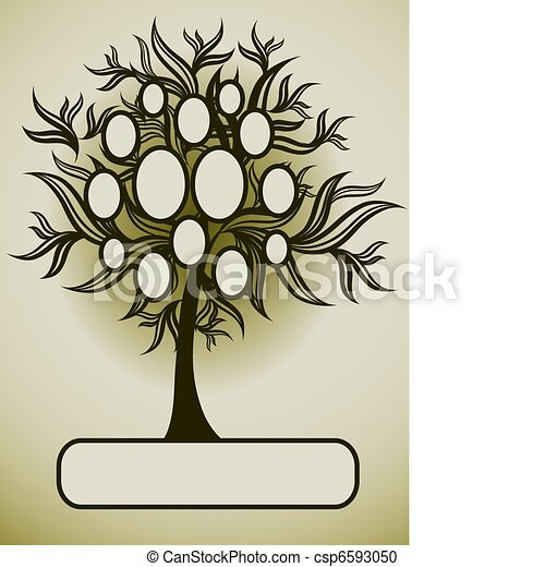 Vector Family Tree Design With Frames And Autumn Leafs Place For