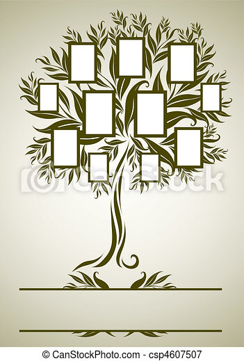 Vector family tree design with frames and autumn leafs. place for text.