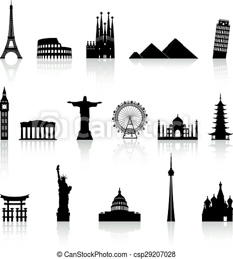 Vector Famous Monument icons Set - csp29207028