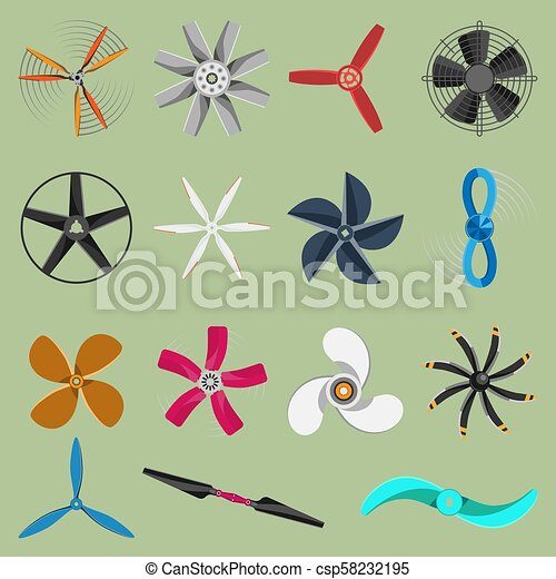 Vector fans propellers icons isolated object. Propeller fan icons cool ventilation ship symbol retro cooler boat equipment. Ventilator symbol wind equipment propeller fan icons - csp58232195