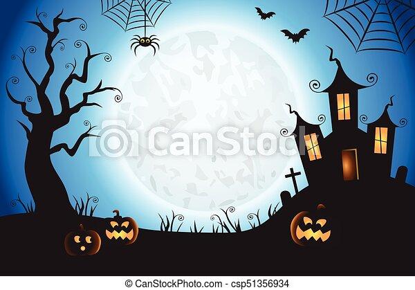 Trasfondo de la escena del vector azul de Halloween - csp51356934