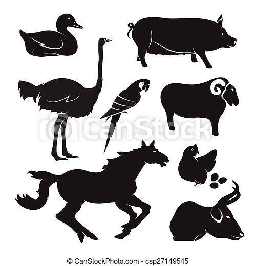 Vector farm animal set on white background - csp27149545