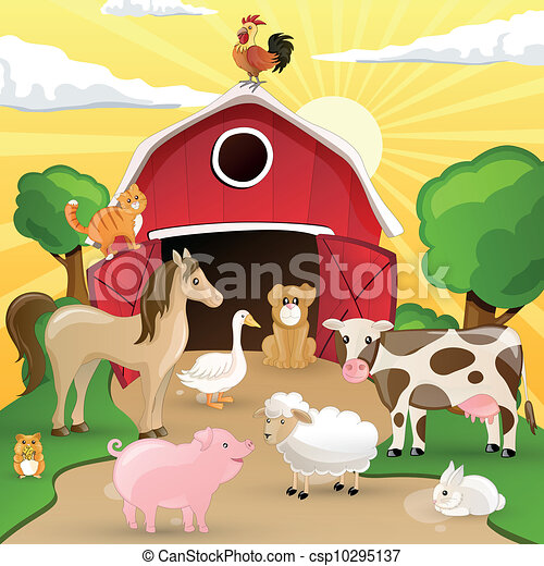Vector Farm with Animals - csp10295137