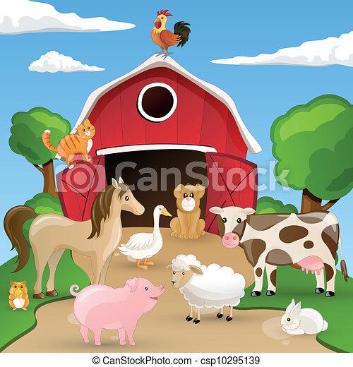 Vector Farm with Animals - csp10295139