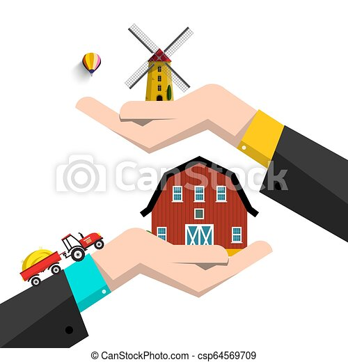 Vector Farming Concept with Barn, Tractor and Windmill on Human Hands Isolated on White Background. - csp64569709