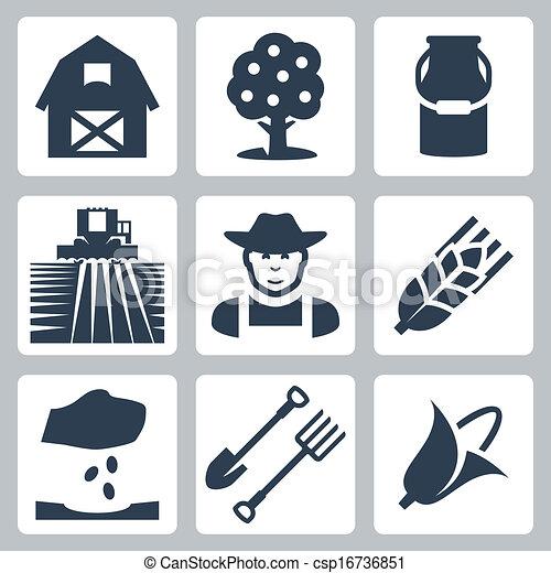 Vector farming icons set - csp16736851