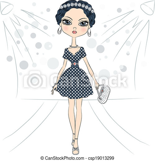 Vector fashion girl top model on the catwalk - csp19013299