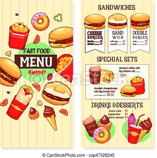 Vector Fast Food Burgers Menu Template