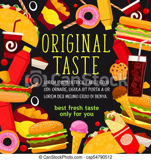 vector fast food meals and snacks menu poster fast food restaurant