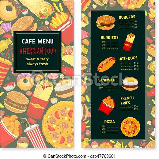 vector fast food menu for cafe or restaurant fast food menu