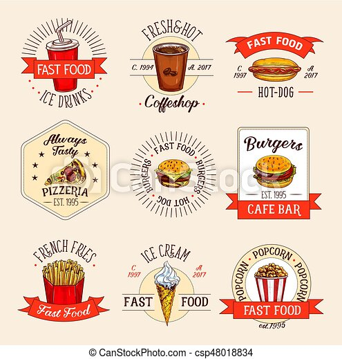 Vector Fast Food Restaurant Menu Icons Fast Food Meals Icons For