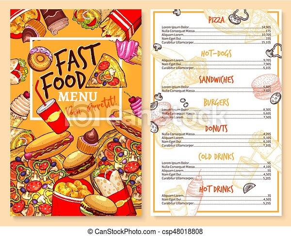 Vector Fast Food Restaurant Menu Price Template Fast Food Menu