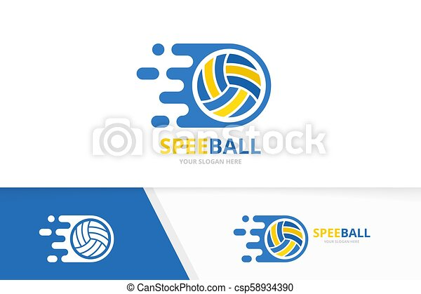 Vector fast volleyball logo combination. Speed symbol or icon. Unique ball and quick logotype design template. - csp58934390