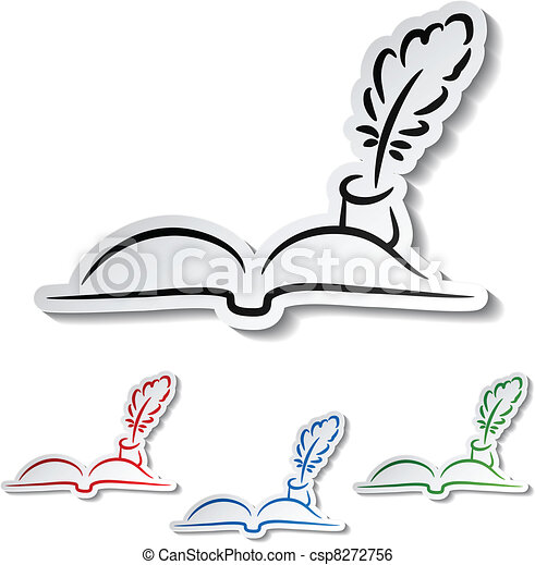 Vector feathers with book - communication icons - csp8272756