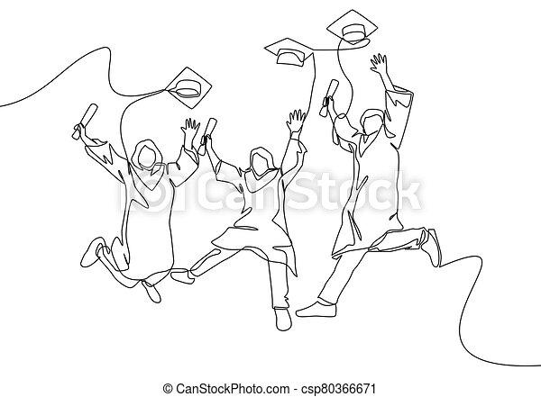 vector, feliz, continuo, macho, uso, graduado, gown., grupo, joven, diseño, celebración, estudiante, graduación, concept., hembra que salta, línea, educación, dibujo, colegio, ilustración, empate, uno - csp80366671