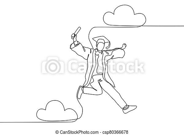 vector, feliz, graduation., continuo, el suyo, joven, solo, diseño, celebración, estudiante de la escuela, celebrar, concept., saltar, línea, educación, dibujo, colegio, ilustración, empate - csp80366678