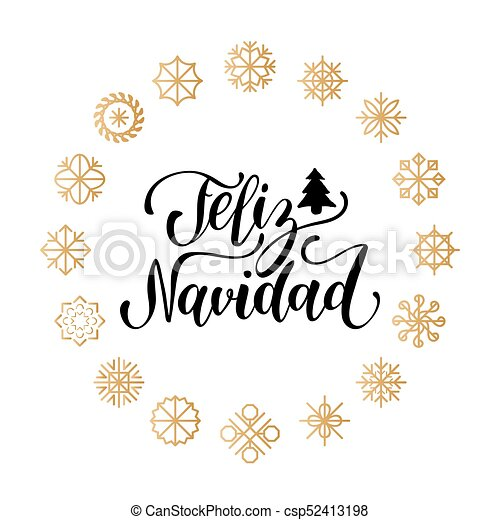 Vector feliz navidad, translated merry christmas lettering with new ...