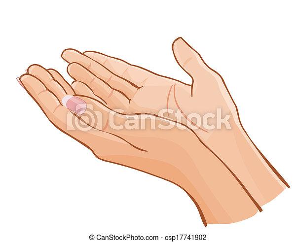 Vector Female Hands Carefully Holding Something Isolated On White