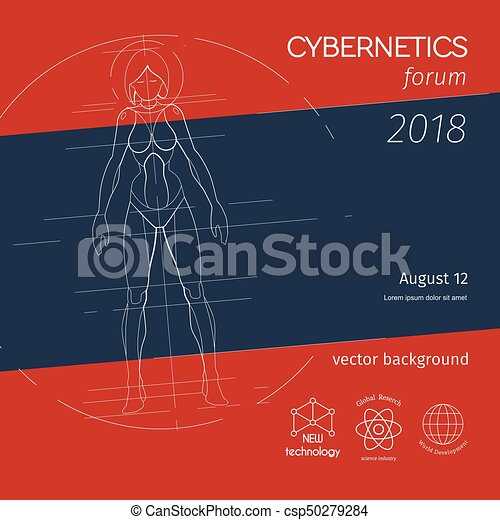 Vector Female Robot Background Cybernetics Forum Banner Female Robot Scheme With Symbols And Stripes Vector Background For