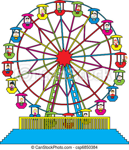 vector ferris wheel with happy children vector illustration eps rh canstockphoto com ferris wheel clipart png ferris wheel clipart free