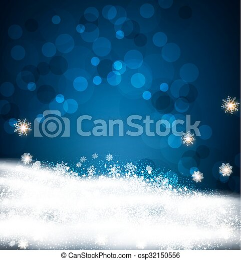 Vector festive background for Christmas and New Year with snowflakes and snow - csp32150556