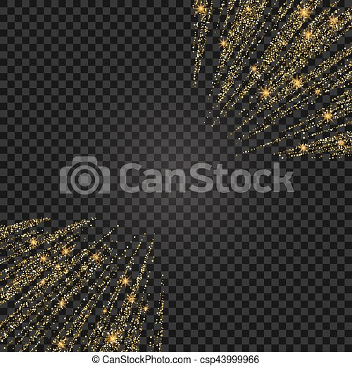 Vector festive illustration of falling shiny particles and stars isolated on transparent background. Golden Confetti Glitters. Sparkling texture. Holiday Decorative tinsel element for Design - csp43999966