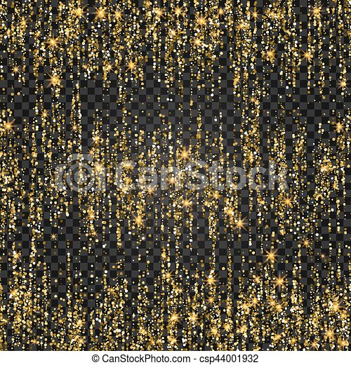Vector festive illustration of falling shiny particles and stars isolated on transparent background. Golden Confetti Glitters. Sparkling texture. Holiday Decorative tinsel element for Design - csp44001932