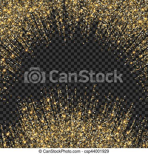 Vector festive illustration of falling shiny particles and stars isolated on transparent background. Golden Confetti Glitters. Sparkling texture. Holiday Decorative tinsel element for Design - csp44001929