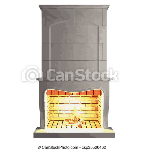 vector fireplace isolated on white - csp35500462