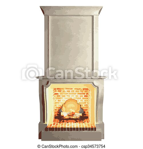 vector fireplace isolated on white - csp34573754