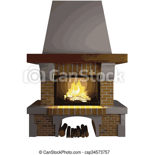 vector fireplace isolated on white - csp34573757