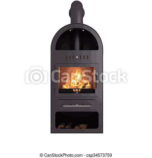 vector fireplace isolated on white - csp34573759