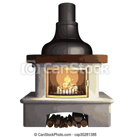 vector fireplace isolated on white - csp35281388