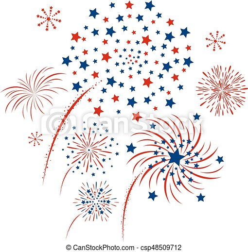 Vector firework design isolated on white background - csp48509712