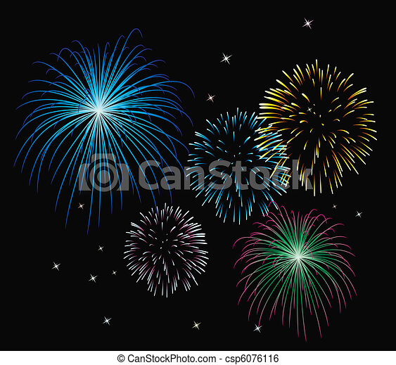 vector fireworks background - csp6076116